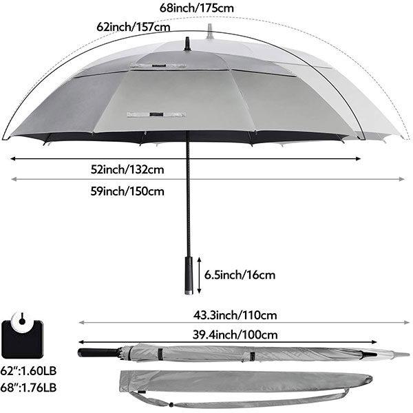 Windproof Golf Umbrella Size