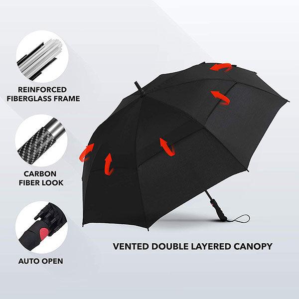 Promotional Golf Umbrella with Reinforced Fiberglass Frame