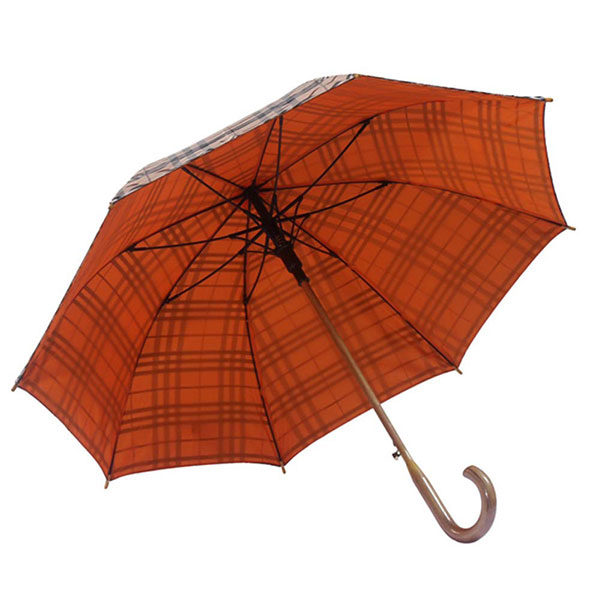 Double Canopy Customise Straight Wooden Handle Umbrella