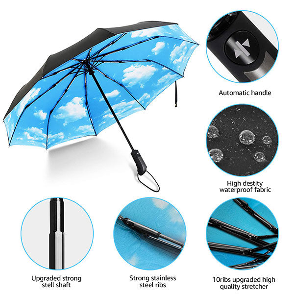 Double Layer Canopy Auto Open Close Compact Umbrella