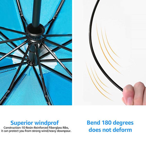 Reinforced Windproof Auto Open Close Compact Umbrella