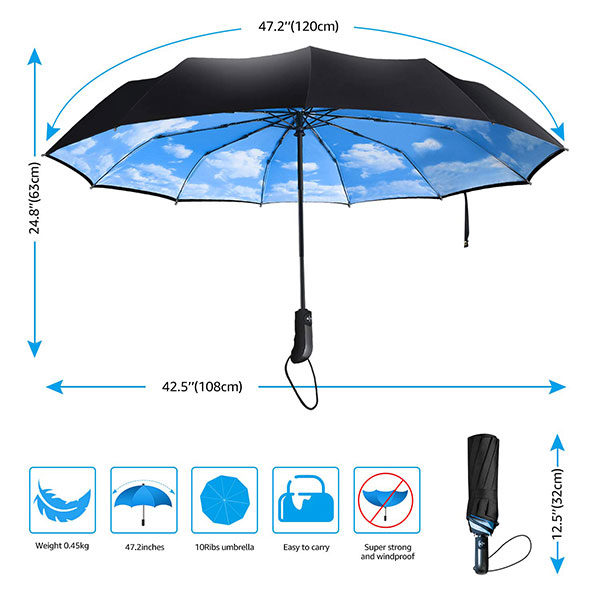 Auto Open Close Compact Umbrella Size