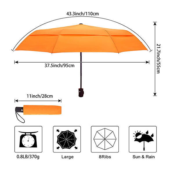 Travel Umbrella with Double Canopy Size
