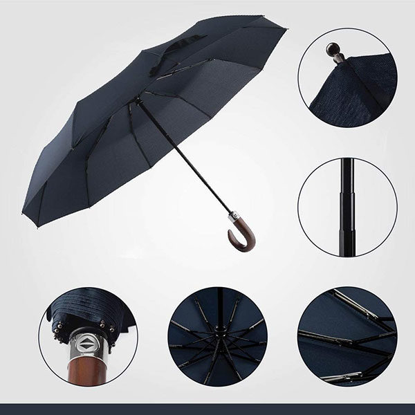 High Quality Automatic Wooden Crook Handle Umbrella