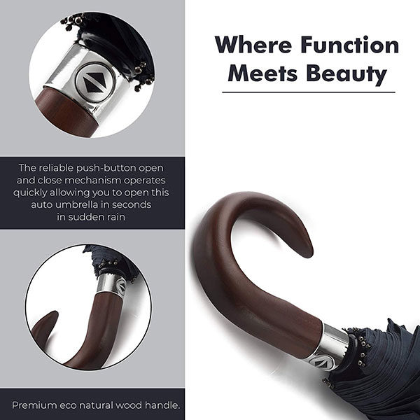Premium Easy Holding Automatic Wooden Crook Handle Umbrella