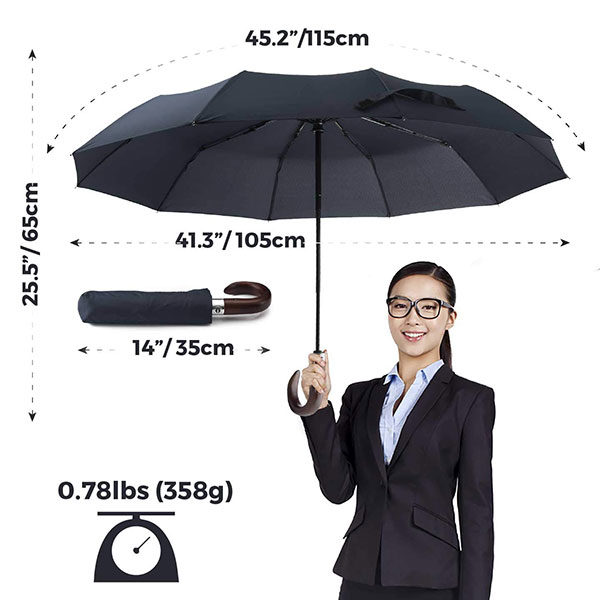 Automatic Wooden Crook Handle Umbrella Size