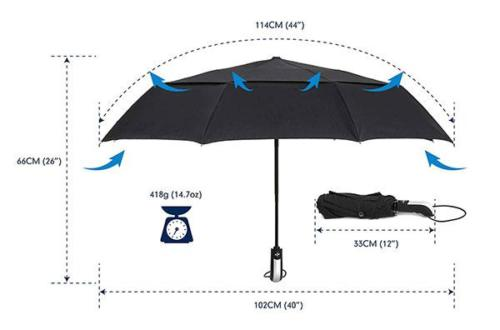 Windproof Compact Umbrella Size