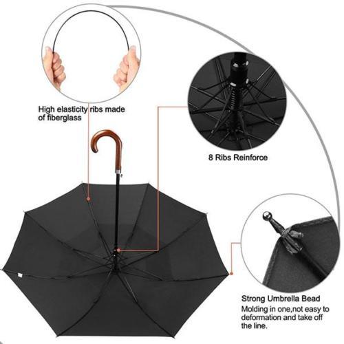 Reinforce Wooden Handle Umbrella Mens