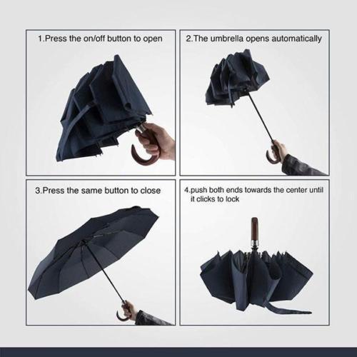 Easy Open Automatic Wooden Crook Handle Umbrella