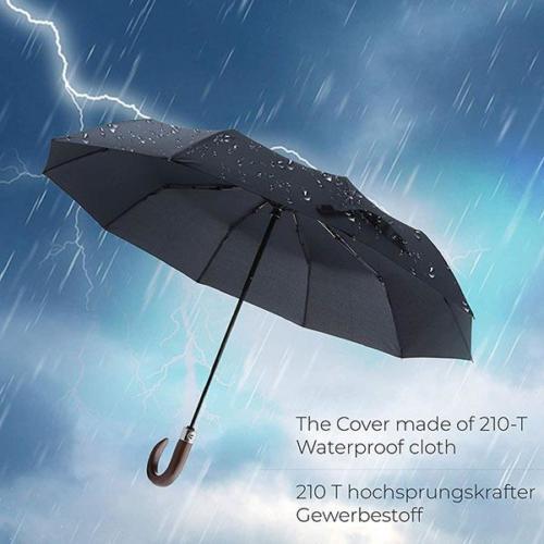 Quick Dry Water Repellant Automatic Wooden Crook Handle Umbrella
